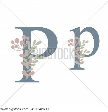 Letters Of Alphabet Decorated With Flowers, Floral Monogram Vector Illustration In Simple Boho Style