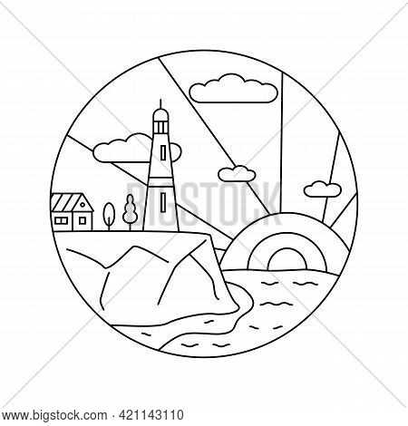Line Art, Lighthouse, Beacon Logo Icon. Lighthouse Stands On Rock Next To House And Trees Against Ba
