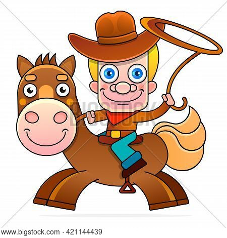 Cowboy Silhouette With Rope Lasso On Horse Vector Illustration Isolated On White Background For Rode