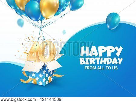 Celebrating 40th Years Birthday Vector Illustration. Forty Anniversary Celebration. Adult Birth Day.