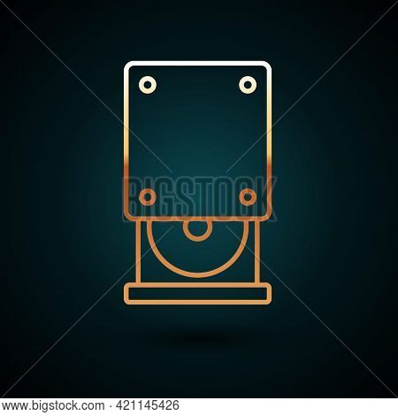 Gold Line Optical Disc Drive Icon Isolated On Dark Blue Background. Cd Dvd Laptop Tray Drive For Rea