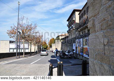San Marino, San Marino - October 10, 2014, View Of The Historic Center Of San Marino. Sunny Autumn D