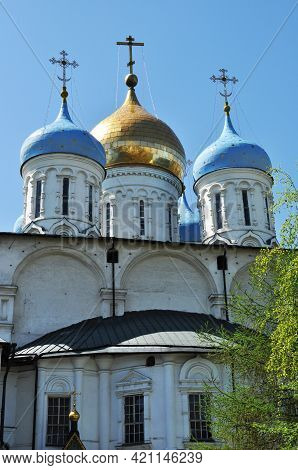 The Domes Of The Cathedral Are Blue And Gold. Domes Against A Cloudless Sky, Architecture, Religion.