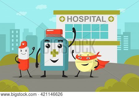 Medicine Bottle And Pill Cartoon Characters In Front Of Hospital. Cute Tablet In Superhero Costume W