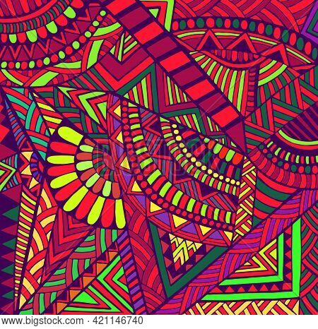 Geometric Abstract Colorful Doodle Psychedelic Background. Decorative Stylish Card Rainbow Colors Pa