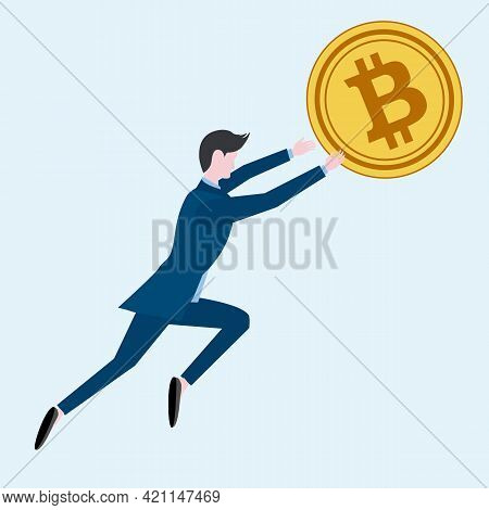 A Man Businessman In A Business Suit Catches, Chases, Flies Upward For A Gold Coin Bitcoin