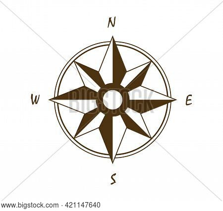 Old Vintage Compass In Retro Style As Wind Rose Vector Cartoon Clipart Isolated
