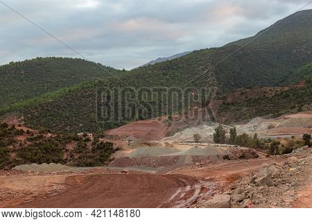 Construction Of A Road In The Atlas Mountains In Morocco, North Africa