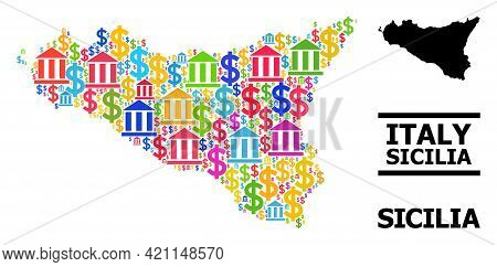 Bright Colored Bank And Economics Mosaic And Solid Map Of Sicilia Island. Map Of Sicilia Island Vect
