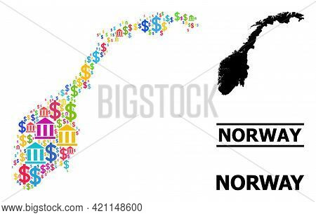 Bright Colored Bank And Dollar Mosaic And Solid Map Of Norway. Map Of Norway Vector Mosaic For Busin