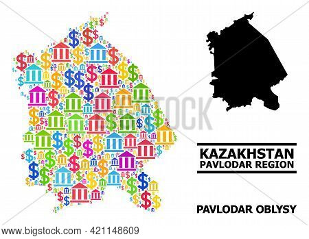 Colored Bank And Money Mosaic And Solid Map Of Pavlodar Region. Map Of Pavlodar Region Vector Mosaic