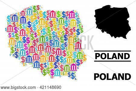 Colored Bank And Dollar Mosaic And Solid Map Of Poland. Map Of Poland Vector Mosaic For Promotion Ca