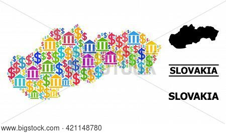 Colorful Bank And Dollar Mosaic And Solid Map Of Slovakia. Map Of Slovakia Vector Mosaic For Geograp