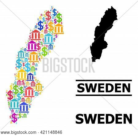 Vibrant Bank And Business Mosaic And Solid Map Of Sweden. Map Of Sweden Vector Mosaic For Promotion