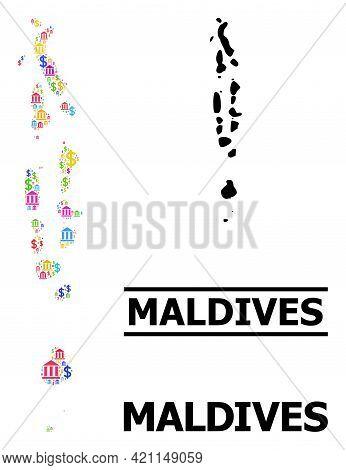 Bright Colored Bank And Money Mosaic And Solid Map Of Maldives. Map Of Maldives Vector Mosaic For Bu