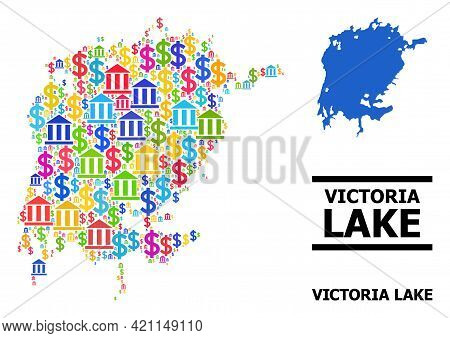 Vibrant Bank And Business Mosaic And Solid Map Of Victoria Lake. Map Of Victoria Lake Vector Mosaic