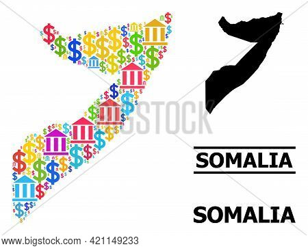 Colored Bank And Commercial Mosaic And Solid Map Of Somalia. Map Of Somalia Vector Mosaic For Geogra