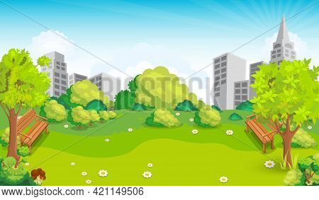 Glade In The Middle Of The Park Vector Illustration