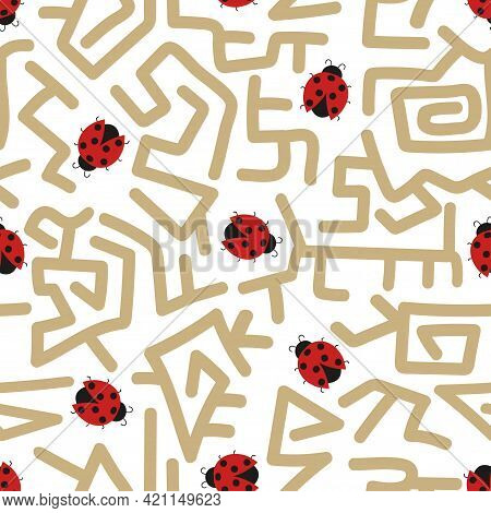 Seamless Maze Pattern With Cute Ladybugs. Labyrinth And Ladybirds Vector Illustration.