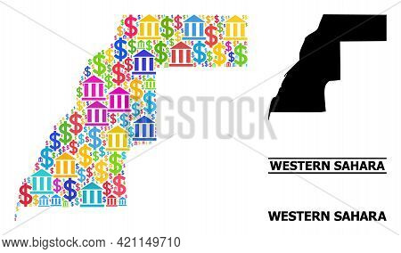 Bright Colored Banking And Dollar Mosaic And Solid Map Of Western Sahara. Map Of Western Sahara Vect