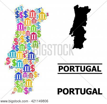 Colored Bank And Dollar Mosaic And Solid Map Of Portugal. Map Of Portugal Vector Mosaic For Advertis