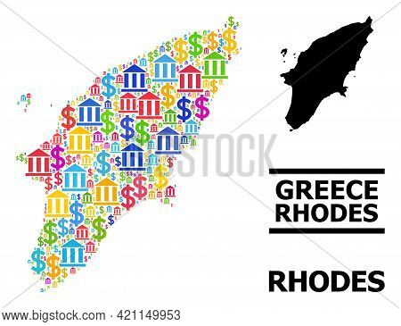 Colorful Bank And Money Mosaic And Solid Map Of Rhodes Island. Map Of Rhodes Island Vector Mosaic Fo