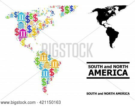 Bright Colored Bank And Commercial Mosaic And Solid Map Of South And North America. Map Of South And