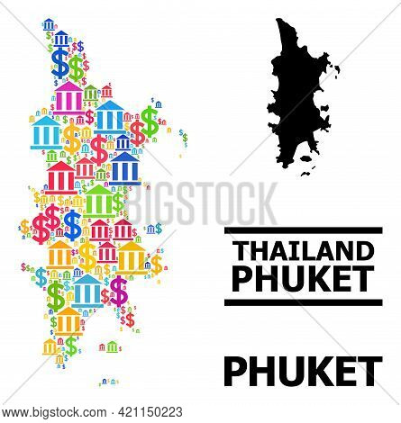 Multicolored Financial And Dollar Mosaic And Solid Map Of Phuket. Map Of Phuket Vector Mosaic For Pr