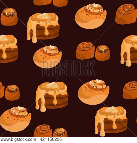 Seamless Pattern With Different Cinnamon Rolls On Dark Background. Cinnabon With Sugar, Topping, Syr