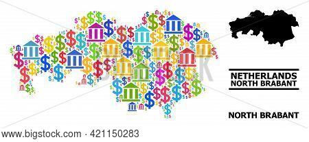 Multicolored Financial And Dollar Mosaic And Solid Map Of North Brabant Province. Map Of North Braba