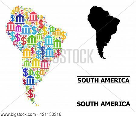 Multicolored Bank And Dollar Mosaic And Solid Map Of South America. Map Of South America Vector Mosa
