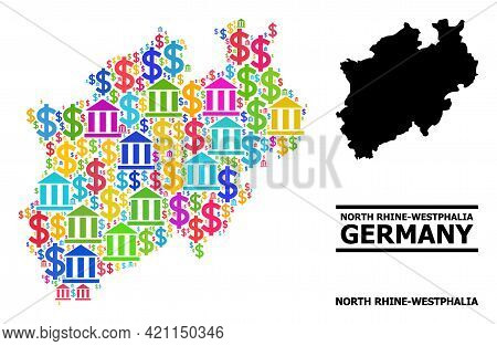 Colored Bank And Commercial Mosaic And Solid Map Of North Rhine-westphalia State. Map Of North Rhine
