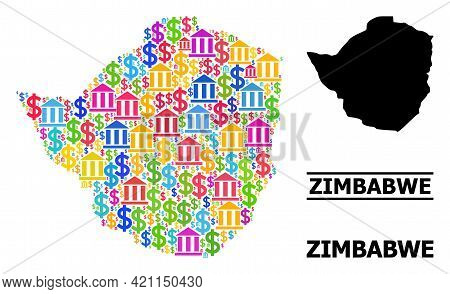 Colored Bank And Dollar Mosaic And Solid Map Of Zimbabwe. Map Of Zimbabwe Vector Mosaic For Ads Camp