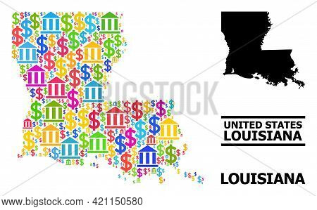 Bright Colored Bank And Money Mosaic And Solid Map Of Louisiana State. Map Of Louisiana State Vector