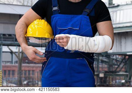 Adult Hurt At Job. Broken Arm Pain