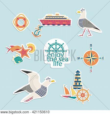 Maritime Symbol Cute Style Vector Stickers Set. Enjoy Sealife Cartoon Doodle Icon Collection. Decora