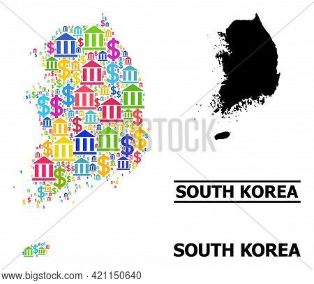 Bright Colored Bank And Commercial Mosaic And Solid Map Of South Korea. Map Of South Korea Vector Mo