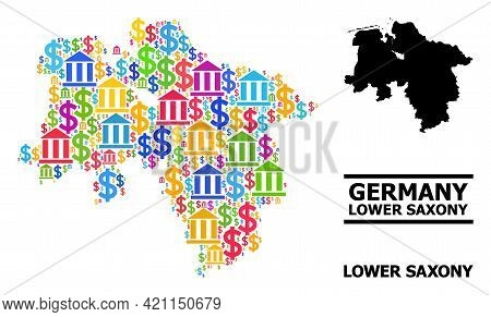 Colored Bank And Money Mosaic And Solid Map Of Lower Saxony State. Map Of Lower Saxony State Vector