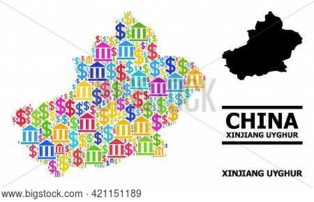 Colored Bank And Commerce Mosaic And Solid Map Of Xinjiang Uyghur Region. Map Of Xinjiang Uyghur Reg