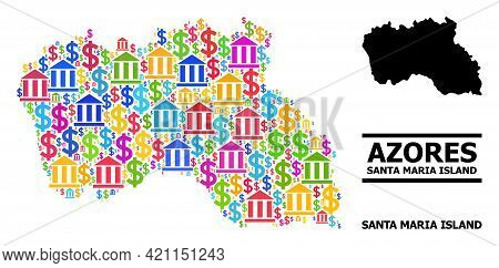 Bright Colored Bank And Commerce Mosaic And Solid Map Of Santa Maria Island. Map Of Santa Maria Isla