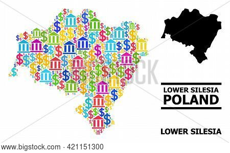 Colorful Bank And Business Mosaic And Solid Map Of Lower Silesia Province. Map Of Lower Silesia Prov