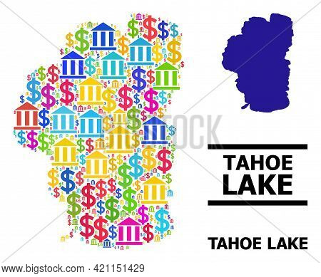Colored Bank And Commercial Mosaic And Solid Map Of Tahoe Lake. Map Of Tahoe Lake Vector Mosaic For