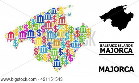 Bright Colored Bank And Dollar Mosaic And Solid Map Of Majorca. Map Of Majorca Vector Mosaic For Bus
