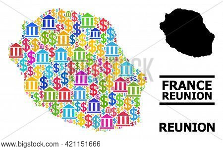 Colored Bank And Dollar Mosaic And Solid Map Of Reunion Island. Map Of Reunion Island Vector Mosaic