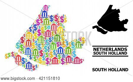 Multicolored Bank And Money Mosaic And Solid Map Of South Holland. Map Of South Holland Vector Mosai