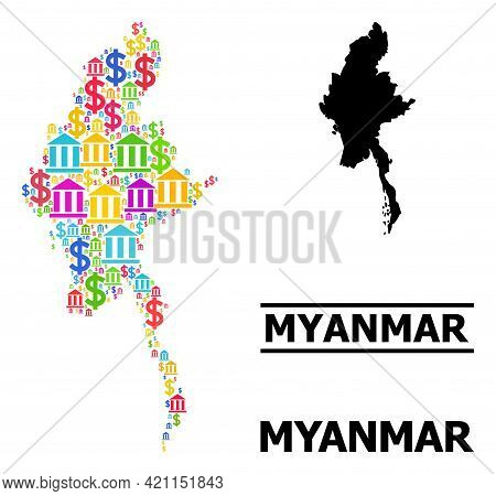 Multicolored Bank And Commercial Mosaic And Solid Map Of Myanmar. Map Of Myanmar Vector Mosaic For G