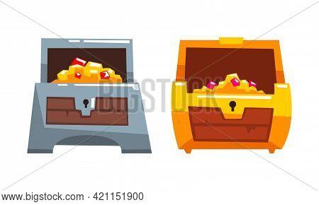 Treasure Chests Set, Opened Antique Chest Full Of Gold And Precious Stones Cartoon Vector Illustrati