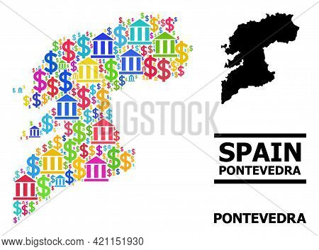 Multicolored Bank And Dollar Mosaic And Solid Map Of Pontevedra Province. Map Of Pontevedra Province