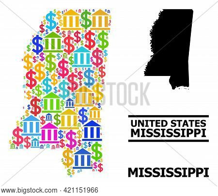 Colored Bank And Commercial Mosaic And Solid Map Of Mississippi State. Map Of Mississippi State Vect