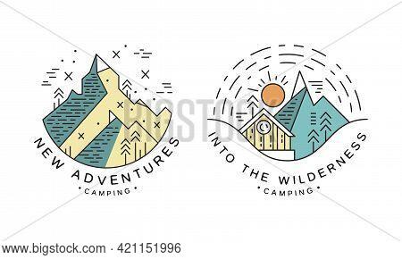New Adventure Logo Design Set, Into The Wilderness Camping Badges Or Labels Cartoon Vector Illustrat